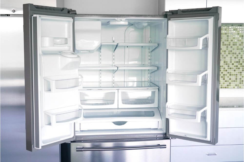 empty refrigerator with door open
