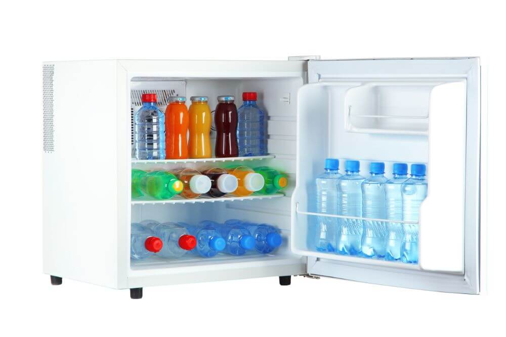 Mini Fridge with bottled juices and water